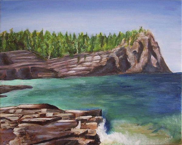 Seascape Art Print featuring the painting Lake Huron by Silvia Philippsohn