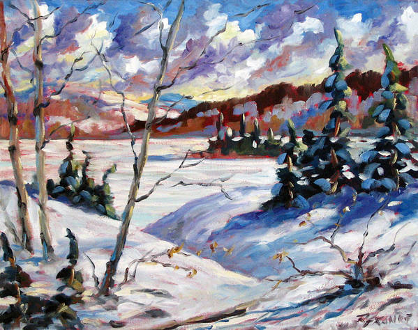 Lake Art Print featuring the painting Lake In Winter by Richard T Pranke
