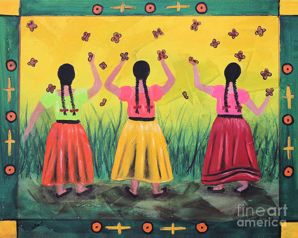 Mexican Art Art Print featuring the painting Las Monarcas by Sonia Flores Ruiz