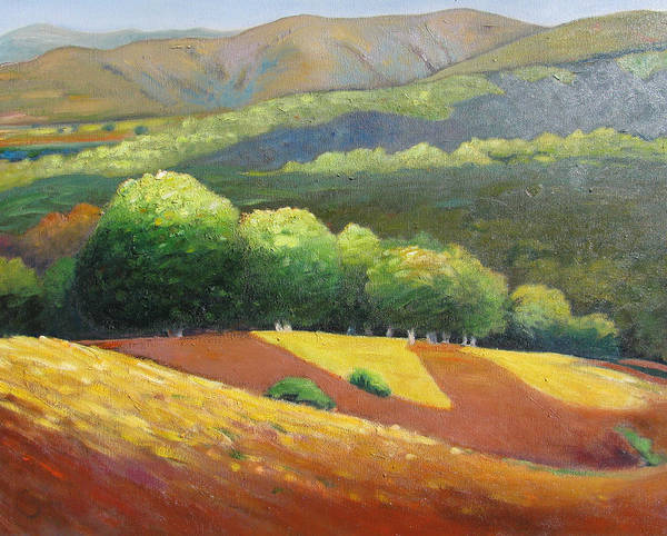 Ca Hills Art Print featuring the painting Last Kiss Of Sunshine by Gary Coleman
