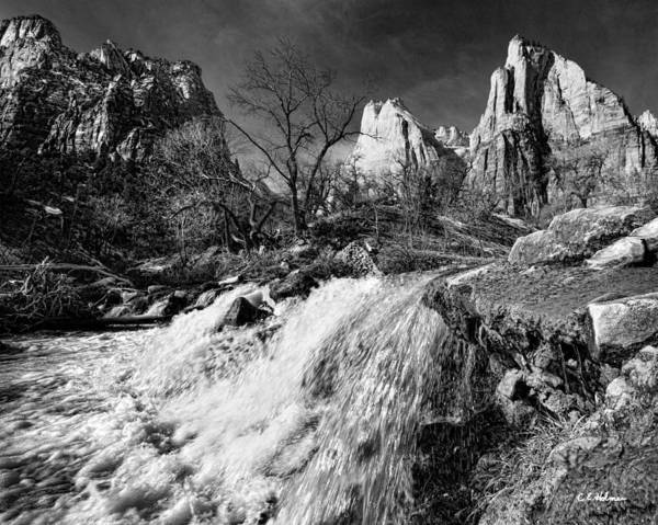 Mountains Art Print featuring the photograph Late Afternoon At The Court Of The Patriarchs - Bw by Christopher Holmes