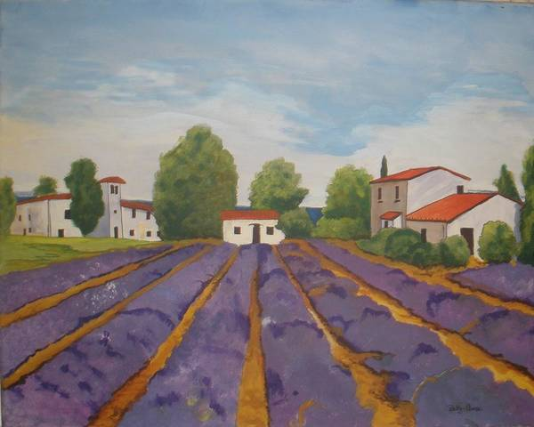 Lavender Art Print featuring the painting Lavender Field by Betty-Anne McDonald