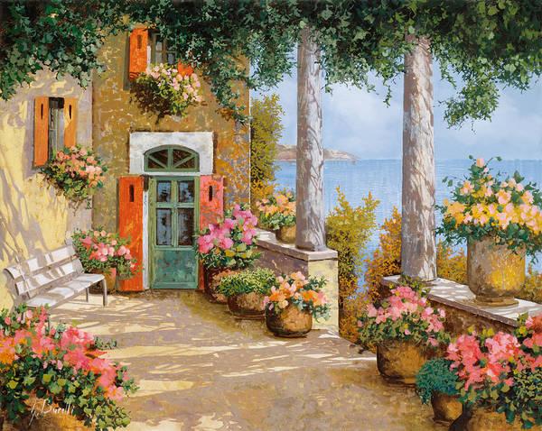 Terrace Art Print featuring the painting Le Colonne Sulla Terrazza by Guido Borelli