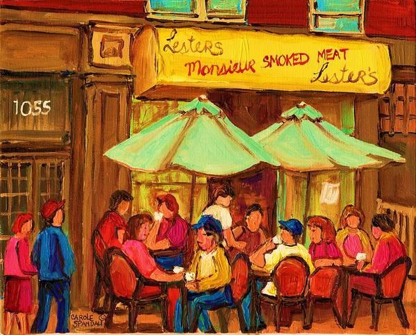 Lesters Monsieur Smoked Meat Cafe Art Print featuring the painting Lesters Monsieur Smoked Meat by Carole Spandau