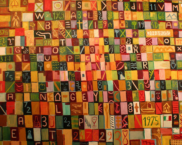Art Print featuring the painting Letters And Numbers by Biagio Civale