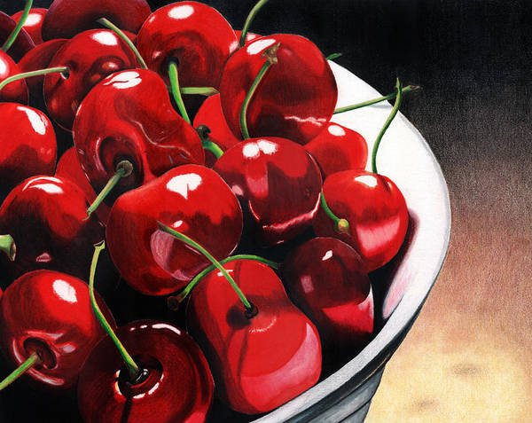 Cherries Print featuring the painting Life Is.... by Angela Armano