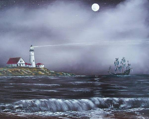 Seascape Art Print featuring the painting Lighthouse by Tony Rodriguez