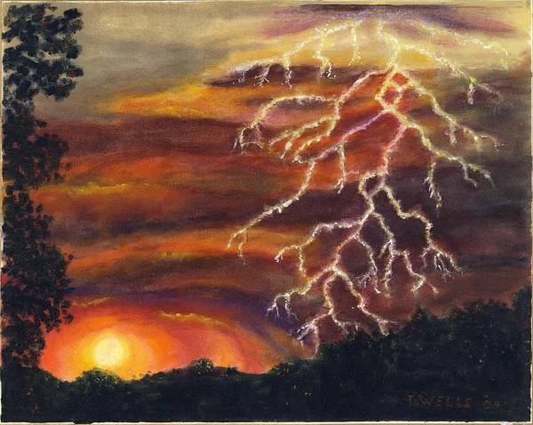Lightning At Sunset Painted In Vibrant Colors Art Print featuring the painting Lightning At Sunset by Tanna Lee M Wells