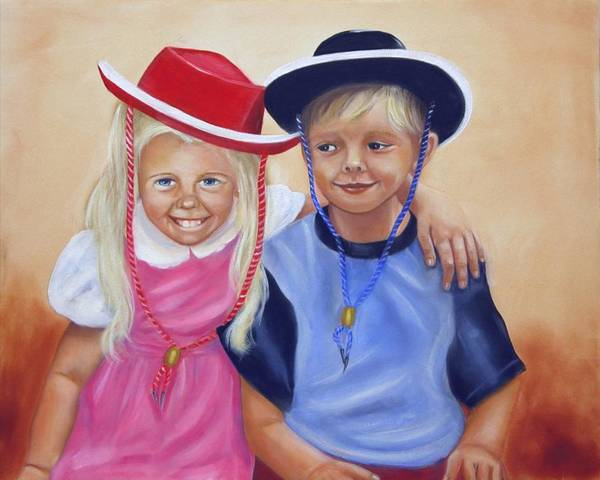 Child Art Print featuring the painting Lil Pardners by Joni McPherson