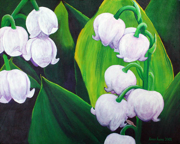 Lily Of The Valley Art Print featuring the painting Lilies Of The Valley by Karen Aune