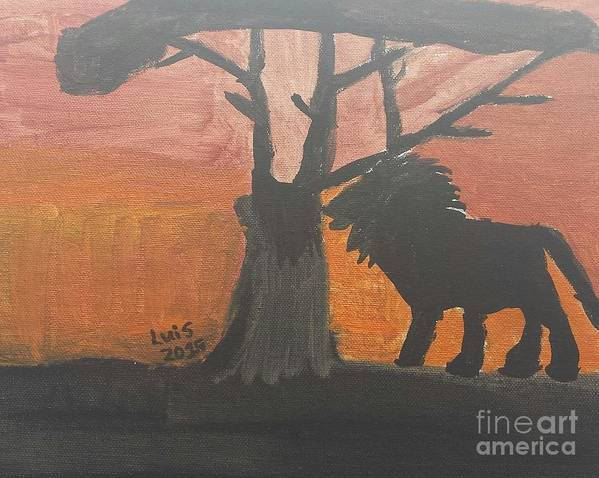 Lion Art Art Print featuring the painting Lion by Epic Luis Art