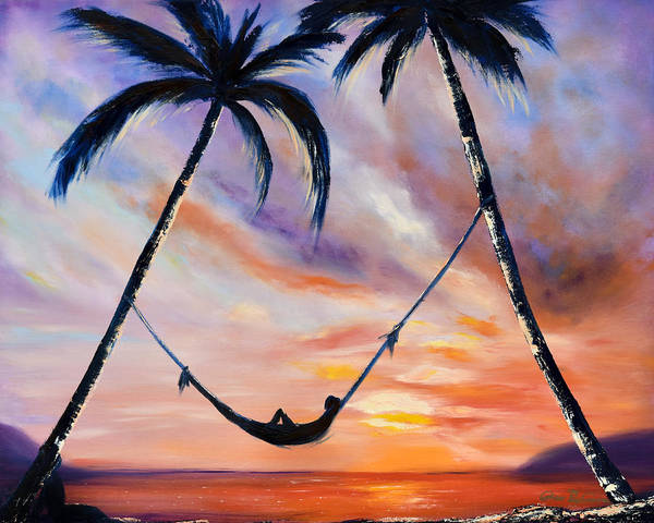 Sunset Art Print featuring the painting Living The Dream by Gina De Gorna