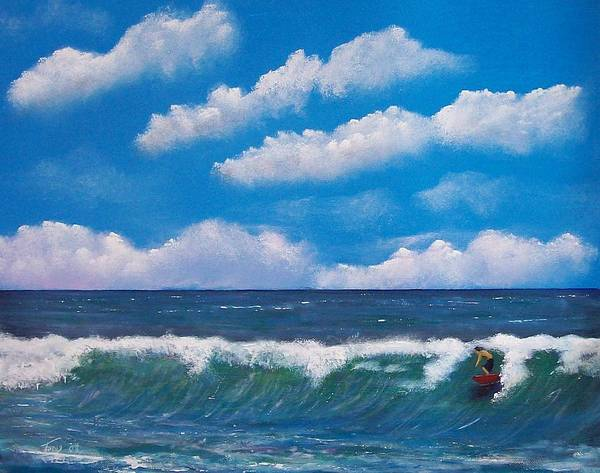 Seascape Art Print featuring the painting Lone Surfer by Tony Rodriguez