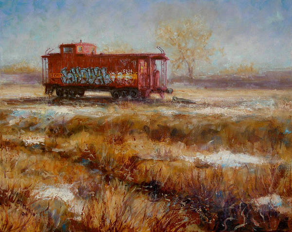 Realism Art Print featuring the painting Lonely Caboose by Donelli DiMaria