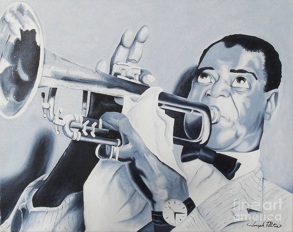 Idols Print featuring the painting Louis Armstrong by Joseph Palotas