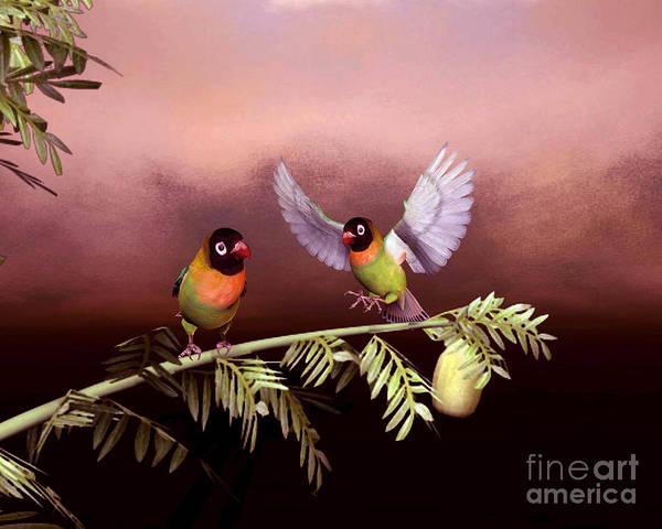 Animals Art Print featuring the digital art Love Birds By John Junek by John Junek