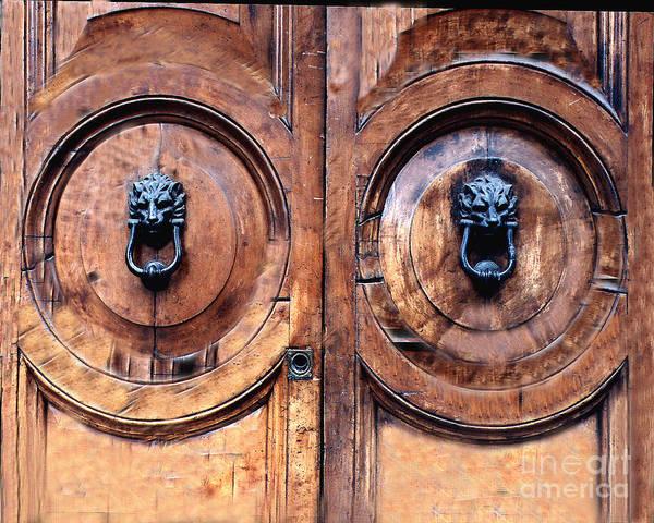 Door Art Print featuring the photograph Lovely Double-door  Rome by Merton Allen