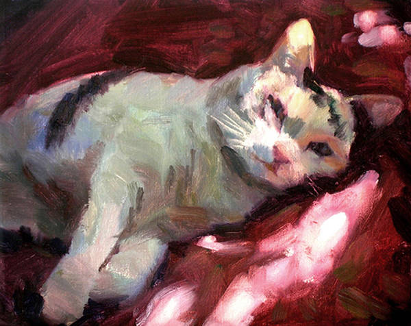 Cat Art Print featuring the painting Luna In The Sun by Merle Keller