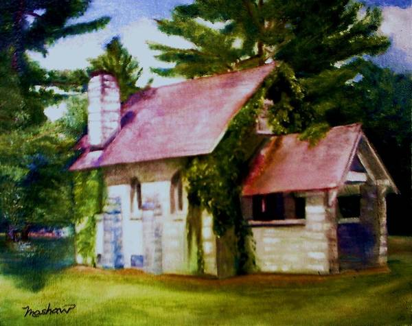 Church Art Print featuring the painting Lyons Falls Church by Sheila Mashaw