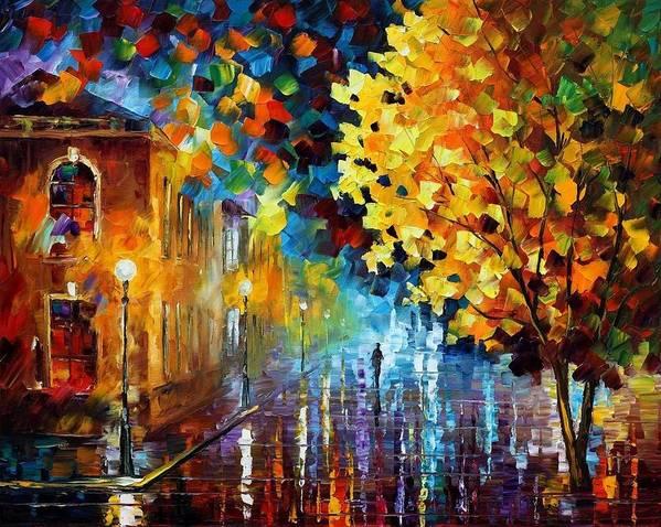 Afremov Art Print featuring the painting Magic Rain by Leonid Afremov