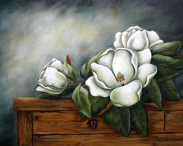 Floral Art Print featuring the painting Magnolia On A Chest by Ruth Bares