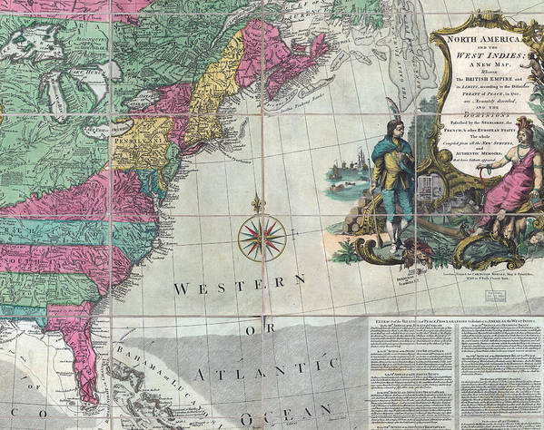 18th Century Art Print featuring the photograph Map Showing The 13 British Colonies by Everett
