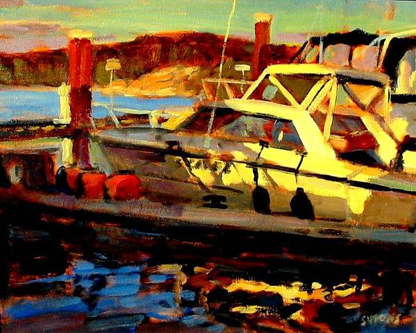 Boat Paintings Art Print featuring the painting Marina Sunset by Brian Simons
