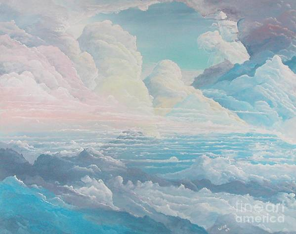 Cloudscape Art Print featuring the painting May Colored Clouds by John Wise