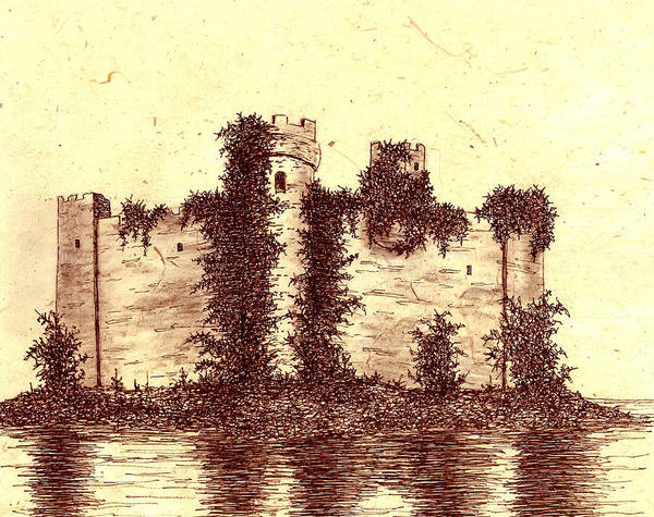 Castle Art Print featuring the drawing Medieval Castle by Michael Vigliotti