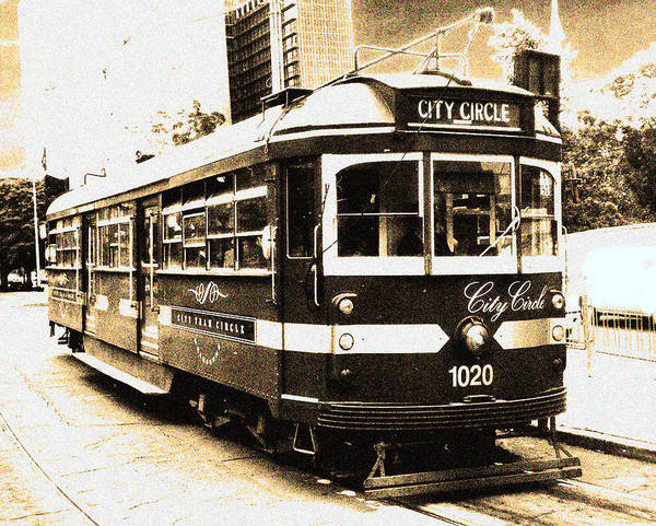 Sepia Print featuring the photograph Melbourne Tram by Darren Stein