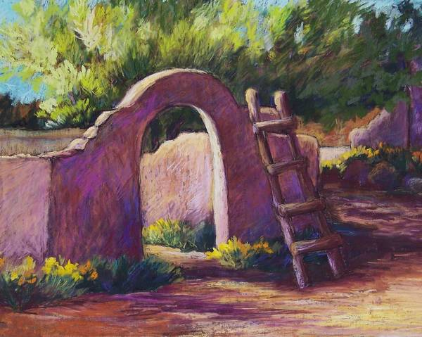 Landscape Art Print featuring the pastel Mesilla Archway by Candy Mayer