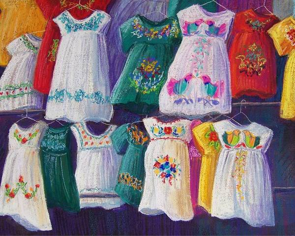 Dresses Art Print featuring the pastel Mexican Dresses by Candy Mayer