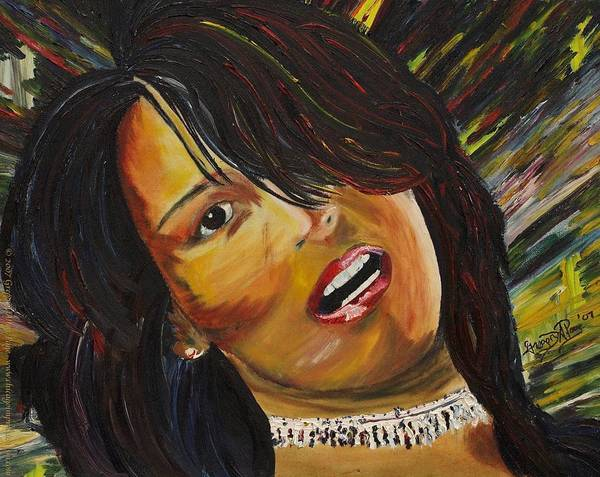Portrait Painting Art Print featuring the painting Miami Latina by Gregory Allen Page