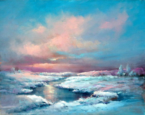 Snow Art Print featuring the painting Midwest Snowfall by Sally Seago