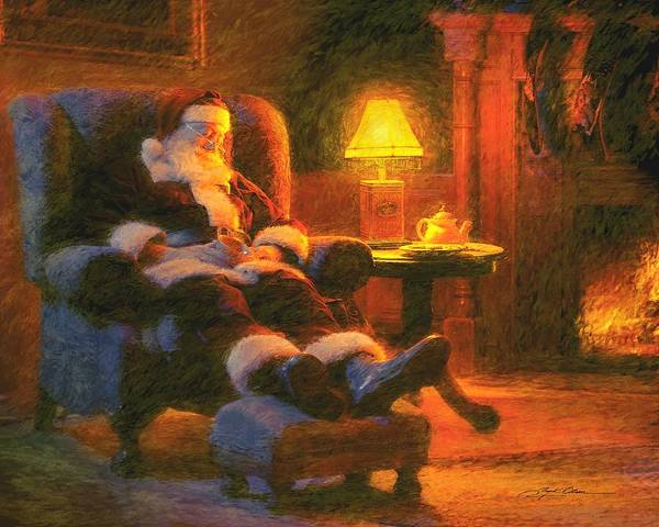 Santa Claus Art Print featuring the painting Milk And Cookiezzzzz by Greg Olsen