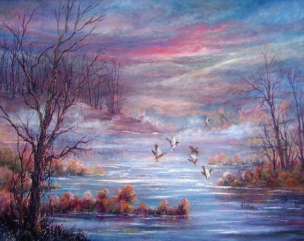 Morning Mist Art Print featuring the painting Misty Morning Flight by Virginia Potter