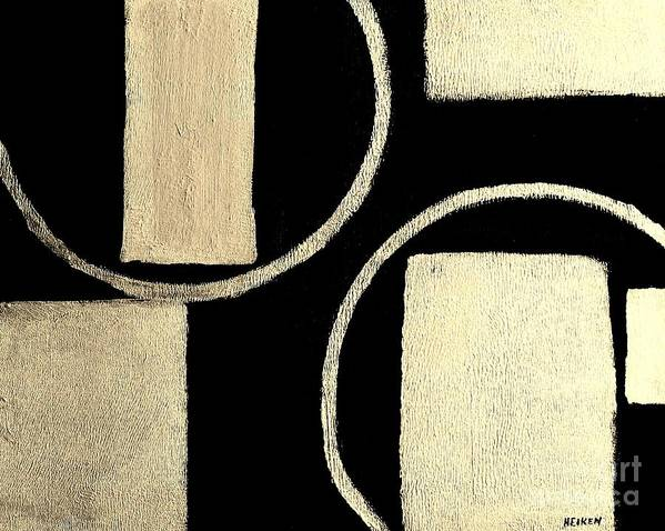 Paintings Art Print featuring the painting Modern Shapes White Gold by Marsha Heiken