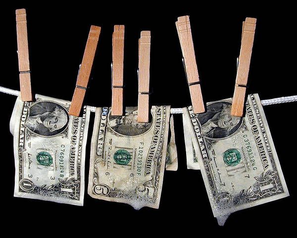 Money Art Print featuring the photograph Money Laundering by David April