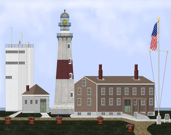 Montauk Lighthouse Art Print featuring the painting Montauk Point Lighthouse Long Island New York by Anne Norskog