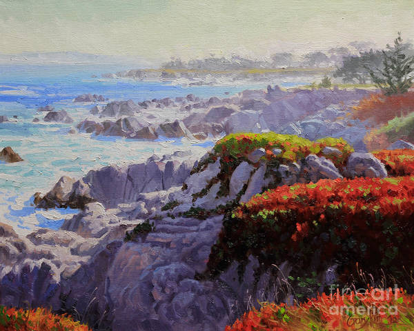 Monteray Bay Art Print featuring the painting Monteray Bay Morning 2 by Gary Kim