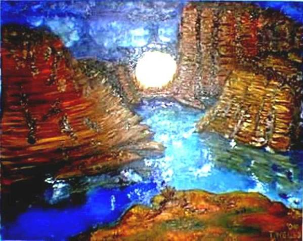 Moon Art Print featuring the print Moon In The Grand Canyon by Tanna Lee M Wells