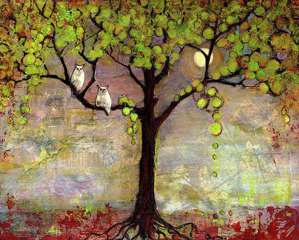 Paintings Art Print featuring the painting Moon River Tree Owls Art by Blenda Studio