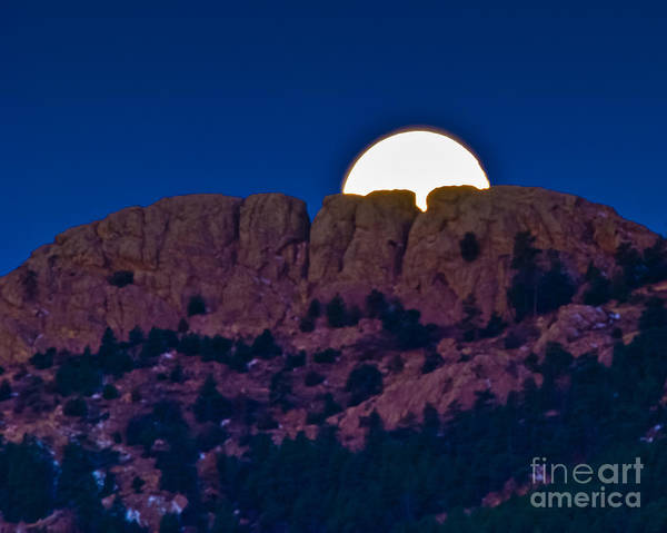 Moon Art Print featuring the photograph Moon Setting Behind Horsetooth Rock by Harry Strharsky