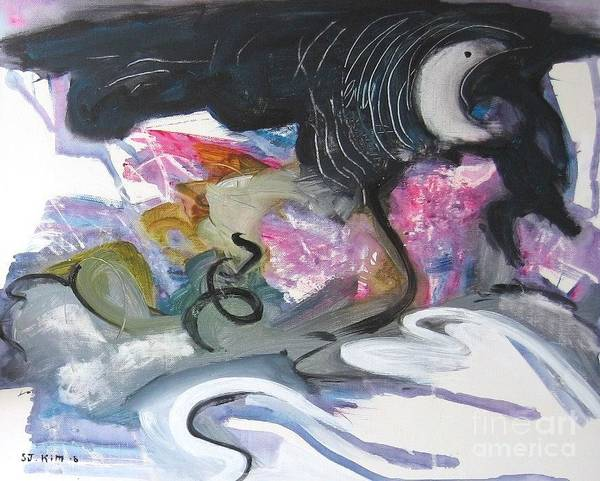 Abstract Paintings Art Print featuring the painting Moonlight Fever by Seon-Jeong Kim
