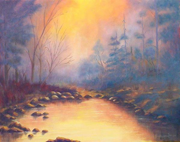 Sunrise Art Print featuring the painting Morning Mist by Merle Blair