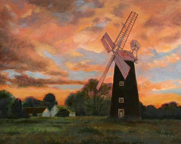 Windmill Art Print featuring the painting Morning Sky by Keith Gantos