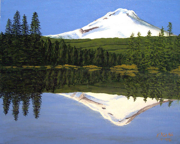 Landscape Paintings Art Print featuring the painting Mount Hood-trillium Lake by Frederic Kohli