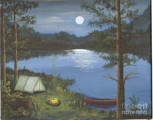 Lake Art Print featuring the painting Mountain Fish Camp by Don Lindemann