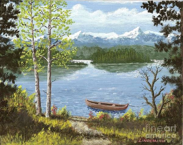 Mountain Art Print featuring the painting Mountain Lake by Don Lindemann