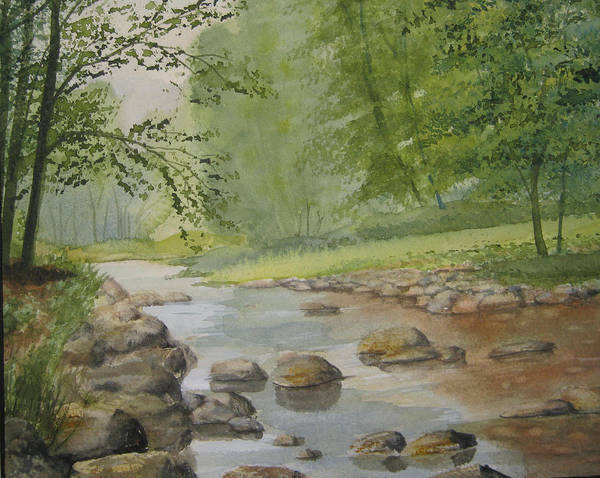 Landscape Art Print featuring the painting Mountain Stream by Shirley Braithwaite Hunt
